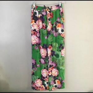 Zara Women floral wide leg drawstring pants